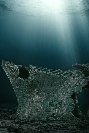 Deep of the sea, shipwreck in the first plan. Photo manipulation, 3D illustration