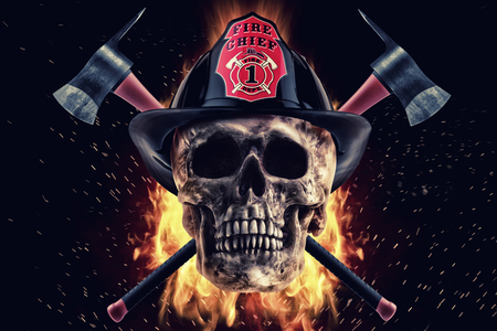 Firefighter skull and axe in fire on a black background. Photo manipulation artwork, 3D rendering. Stock fotó