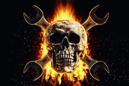 Skull in a fire, isolated on a black background. Photo manipulation artwork, 3D rendering. Stock fotó