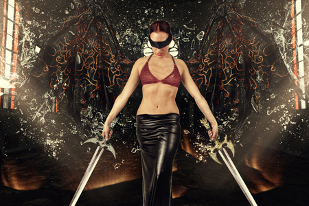 Sexy woman with demon wings holding swords in both hands. Explosion of windows in background. Photo manipulation.