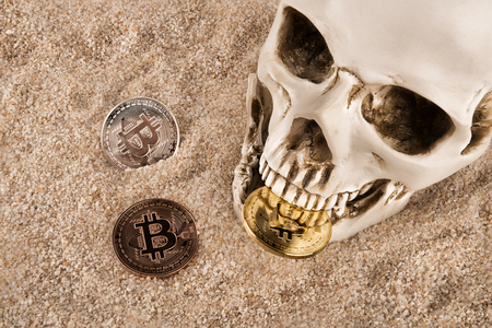 Close up on skull biting bitcoin over sand background. Concept of investment and fluctuation of bitcoin and cryptocurrency. 写真素材