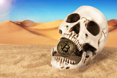 Close up on skull biting bitcoin over sand background. Concept of investment and fluctuation danger of bitcoin and cryptocurrency. 写真素材