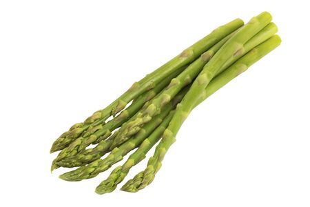 Close up on asparagus disposed by diagonal, isolated on white background. Cut out.