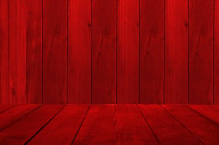 Empty display. Background and table of red wooden planks. Copy space for your text.