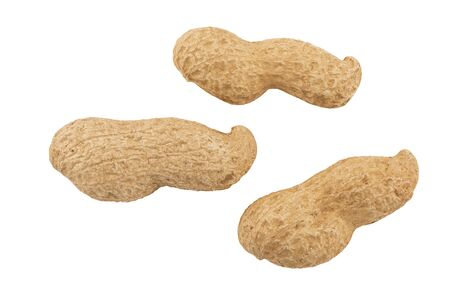 Close up on peanuts isolated on white background. Cut out. Stok Fotoğraf