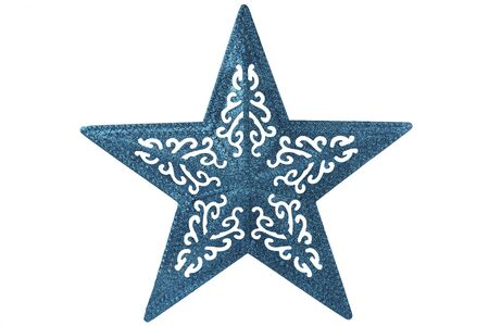 Big shiny blue star for Christmas decoration. Isolated on white background. Cut out and directly above.