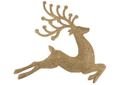 Big shiny reindeer for Christmas decoration. Isolated on white background. Cut out and directly above.