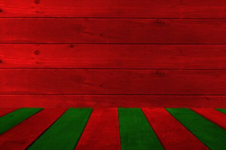 Empty display. Background and table of red and green wooden planks. Copy space for your text. Standard-Bild