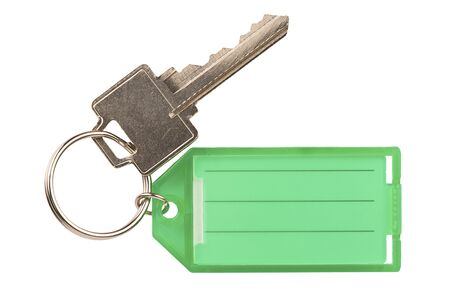 Keychain with a blank label for identification, isolated on white background. Cut out.