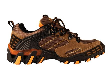 Side view of a hiking shoe, isolated on white background. Cut out.
