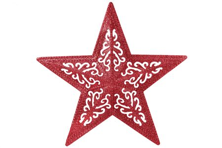 Big shiny red star for Christmas decoration. Isolated on white background. Cut out and directly above. Standard-Bild