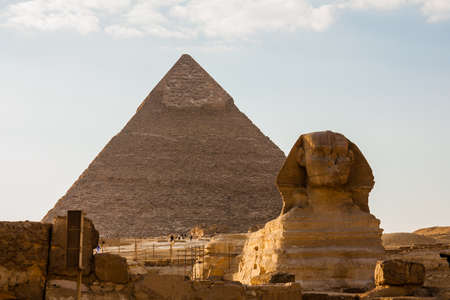 chephren: the Great Pyramid and Great Sphinx at Giza Plateau