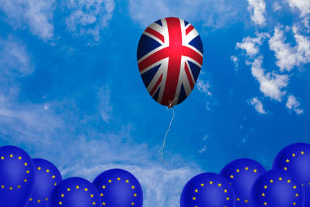 Flying balloon with the flag of the United Kingdom