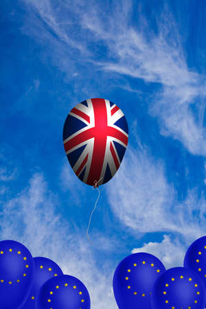 Flying balloon with the flag of the United Kingdom as an illustration of the Brexit