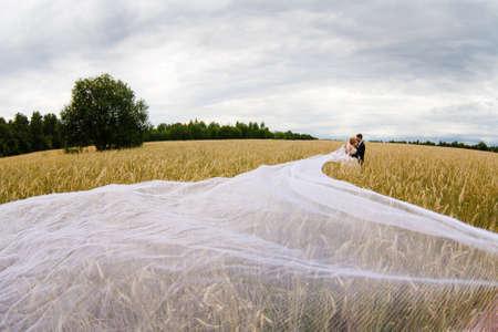 bridegroom: Bridegroom and bride with very long bridal veil Stock Photo