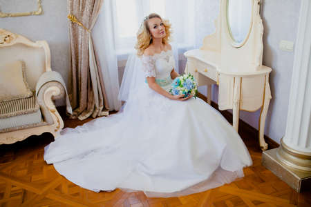 Portrait of a young beautiful bride in a beautiful classic interior Stock Photo