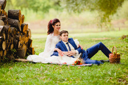 Couple newlyweds in a autumn park Stock Photo