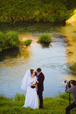Wedding photoshoot near the river