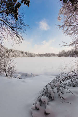 Beautiful winter landscape at the morning Stock Photo