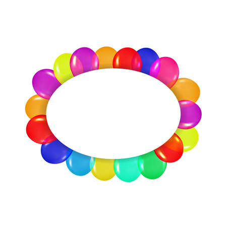 r�alisme: oval frame of colorful balloons in the style of realism. to design cards, birthdays, weddings, fiesta, holidays, invitations on a white background