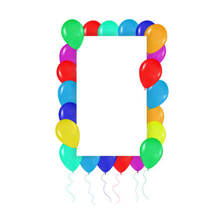 realism: square frame of colorful balloons in the style of realism. to design cards, birthdays, weddings, fiesta, holidays, invitations on a white background