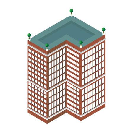 centre d affaires: plat 3d isom�trique gratte-ciel. centre d'affaires. Isol� sur fond blanc. pour les jeux, des ic�nes, des cartes.