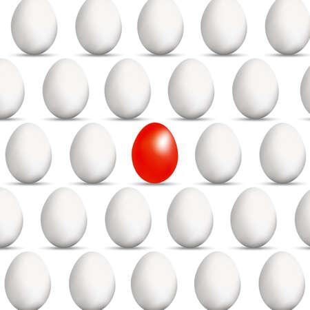 rejoicing: Concetto uovo rosso in uno stile realistico con un'ombra di diversa per le imprese su sfondo bianco