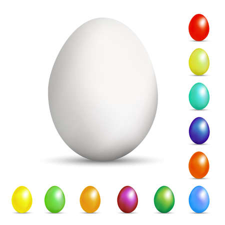 huevo blanco: set of eggs in a realistic style with a shadow of different colors for Easter and other holidays as well for prettification Vectores