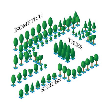 緑の木々 や茂み、フラットでの等尺性のセットはデザイン アイコン、ゲーム、白い背景の上のインフォ グラフィックに 3 D スタイル