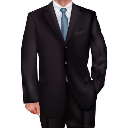 realism: mens suit with a blue tie-style realism backgrounds for invitations, gift cards, business gifts