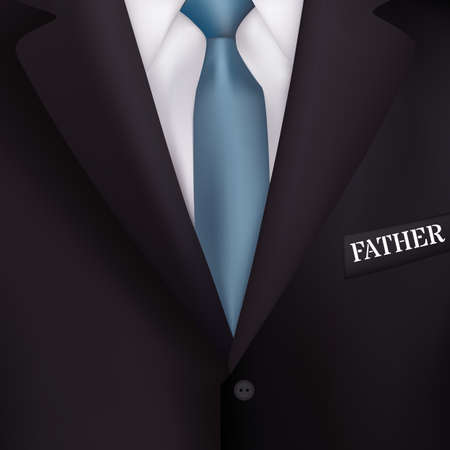 realism: mens suit with a blue tie-style realism backgrounds for invitations, gift cards for the holiday Fathers Day Illustration