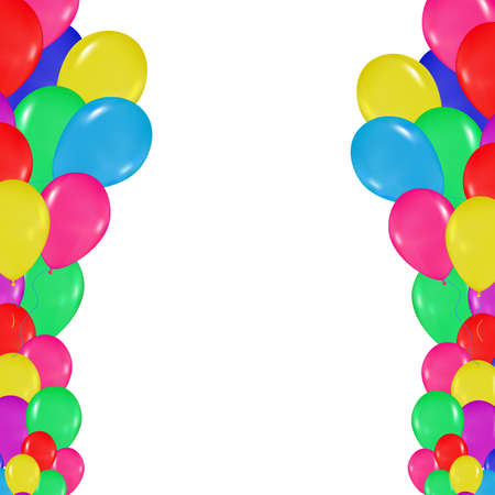 realism: frame of colorful balloons in the style of realism. to design cards, birthdays, weddings, fiesta, holidays, invitations on a white background