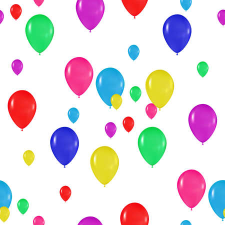 realism: pattern of colorful balloons in the style of realism. to design cards, birthdays, weddings, fiesta, holidays, invitations on a white background