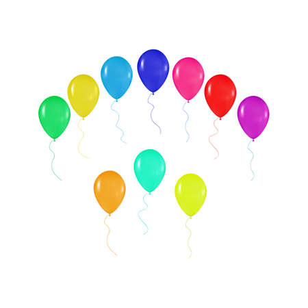 realism: set  of colorful balloons in the style of realism. to design cards, birthdays, weddings, fiesta, holidays, invitations on a white background