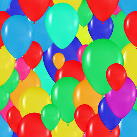 realism: pattern of colorful balloons in the style of realism. for design cards, birthdays, weddings, fiesta, holidays, invitations on a white background Illustration