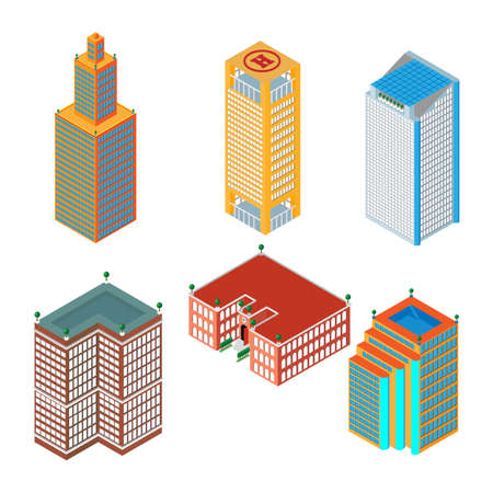 business buildings: flat 3d isometric set of colored skyscrapers, buildings, school.  Isolated on white background.  for games, icons, maps. Illustration