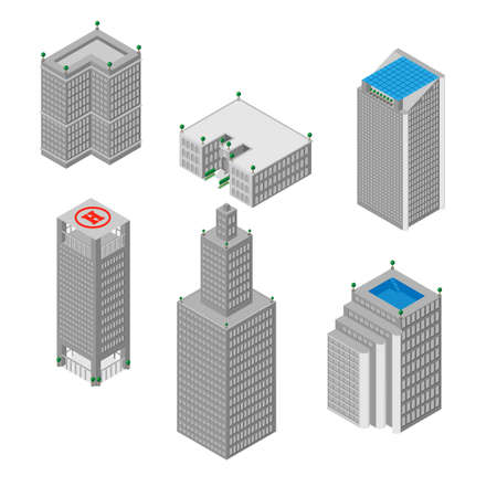 business buildings: flat 3d isometric set of  skyscrapers, buildings, school.  Isolated on white background.  for games, icons, maps.
