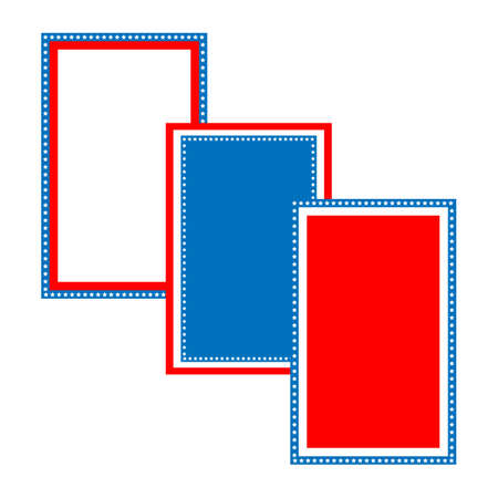 art border: Blue and red patriotic stars and stripes page  border frame design for 4th of july Illustration
