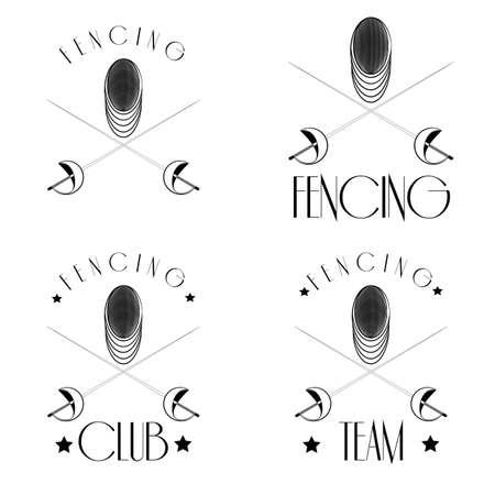 esgrimista: logotipos de esgrima con tirador, máscara, cruzado láminas, IEasy para editar Vectores
