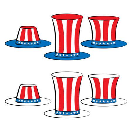 hat top hat: usa set hat uncle sam top hat, top hat for independence day Illustration