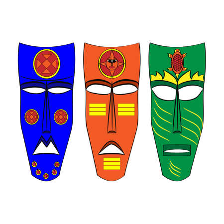 ancestors: Mask Aztec ancestors of Mexico on a white background