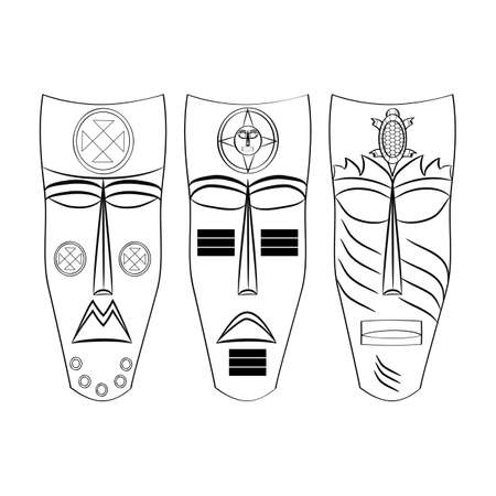 ancestors: black and white Mask Aztec ancestors of Mexico on a white background