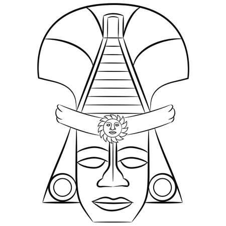 Schwarz-Weiß-Maske aztekischen Vorfahren von Mexiko auf weißem Hintergrund