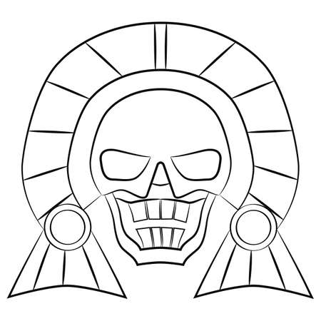 white mask: black and white Mask Aztec ancestors of Mexico on a white background