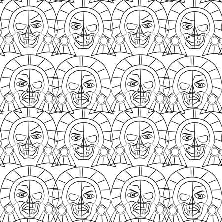Day of the Dead Sugar Skull Seamless pattern, Mexican mask