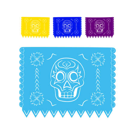bienvenido: paper colored sticker in traditional Mexican style and patterns for backgrounds skulls, celebrations, day of the dead, halloween, fiesta.