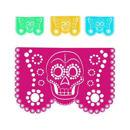 bienvenido: colored sticker paper in traditional Mexican style and patterns for backgrounds skulls, celebrations, day of the dead, halloween, fiesta. Illustration