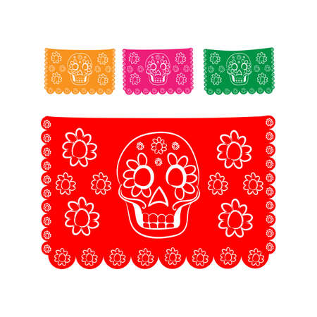bienvenido: sticker paper in traditional Mexican style and patterns for backgrounds skulls, celebrations, day of the dead, halloween, fiesta.