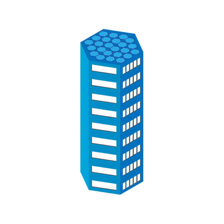 centre d affaires: plat 3d isom�trique gratte-ciel. centre d'affaires. panneaux solaires sur le toit. Isol� sur fond blanc. pour les jeux, des ic�nes, des cartes.