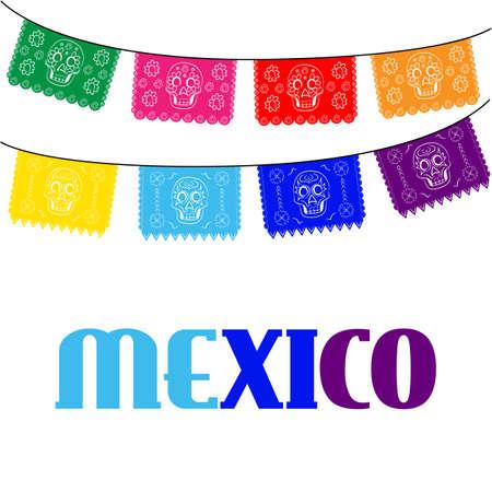 メキシコ。伝統的なメキシコの旗を掛けていると色とりどりのテンプレート